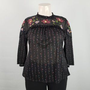 Style & Co Black Embroidered Top Size XL